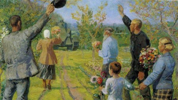 Многофигурная композиция Е.С. Зерновой «Колхозники приветствуют танкистов во время маневров»