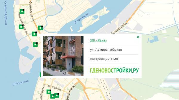 Новостройка ЖК «Река» на карте Архангельска