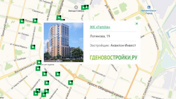 Новостройка ЖК «Фамилия» на карте Архангельска