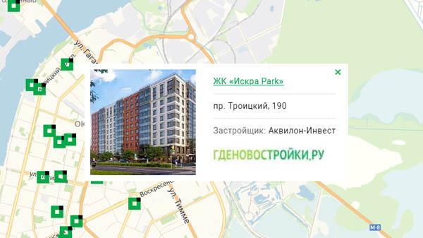 Новостройка ЖК «Искра Парк» на карте Архангельска