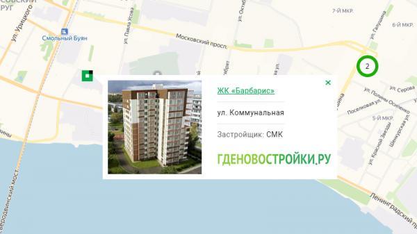 Новостройка ЖК «Барбарис» на карте Архангельска